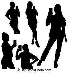 faire, deux, girl, silhouette, smartphone, selfie, ensemble