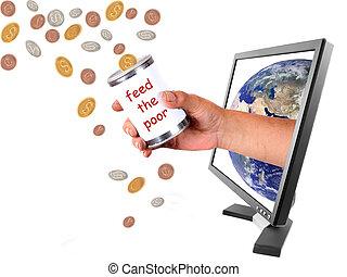faire don, différent, devises, par, internet