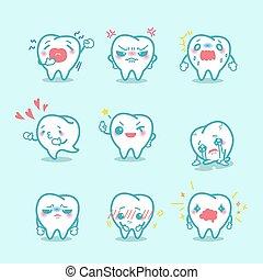 faire, expression, différent, dents