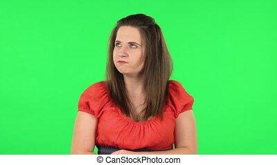 faire gestes, girl, vert, anger., portrait, mignon, exprimer, écran, irritation