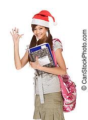 faire gestes, salue, asiatique, étudiant, chapeau, noël