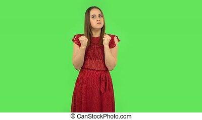 faire gestes, tension, tendre, exprimer, robe verte, girl, écran, irritation, rouges