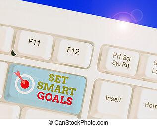 faire, goals., texte, bon, achievable, écriture, ensemble, concept, plans., establish, mot, objectifs, intelligent, business