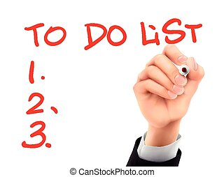faire liste, écrit, par, 3d, main