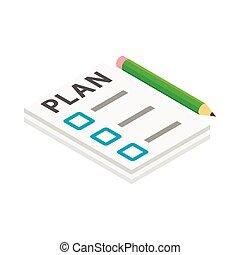 faire liste, et, crayon, icône, isométrique, 3d, style