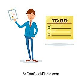 faire liste, homme, projection, presse-papiers, page, à, diagramme
