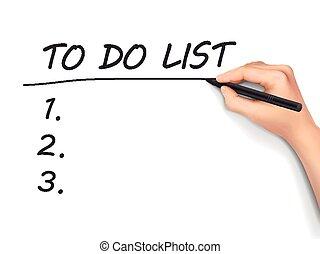 faire liste, mots, écrit, par, main