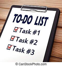 faire liste, presse-papiers