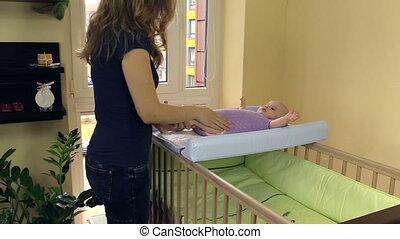 faire, mère, masage, enfant