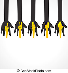 faire, mains, cinq, premier