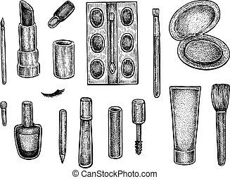 faire, objets, haut, collection, traitement