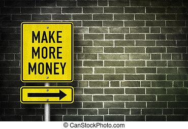 faire, plus, argent, -, panneaux signalisations, illustration