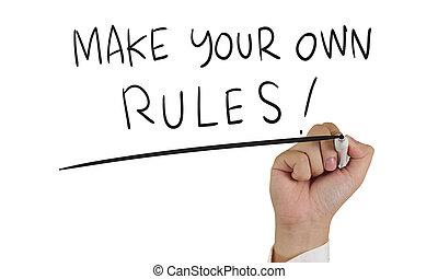 faire, règles, ton, concept, typographie, propre