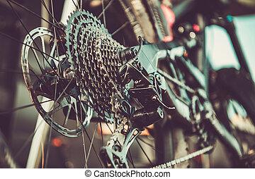 faire vélo, fin, engrenages, déplacement, vélo, thème, haut