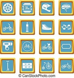 faire vélo, icônes, azur