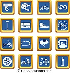 faire vélo, icônes, ensemble, bleu