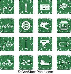 faire vélo, icônes, ensemble, grunge