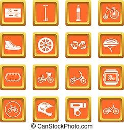 faire vélo, icônes, ensemble, orange