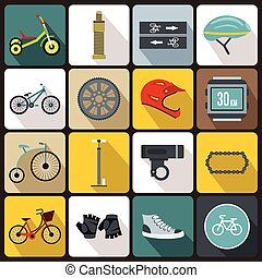 faire vélo, icônes, ensemble, plat, style