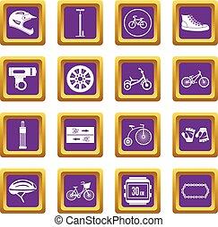 faire vélo, icônes, ensemble, pourpre
