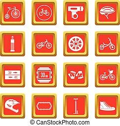 faire vélo, icônes, ensemble, rouges