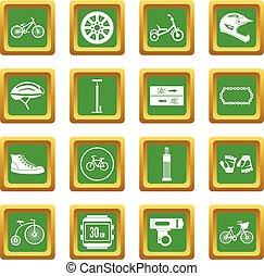 faire vélo, icônes, ensemble, vert