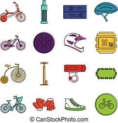 faire vélo, icônes, griffonnage, ensemble