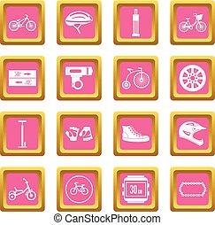 faire vélo, icônes, rose