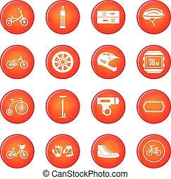 faire vélo, icônes, vecteur, ensemble