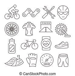 faire vélo, ligne, icônes