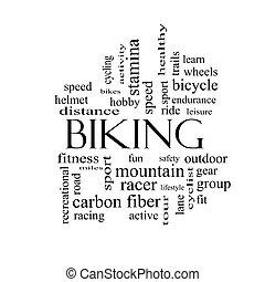 faire vélo, mot, nuage, concept, dans, noir blanc