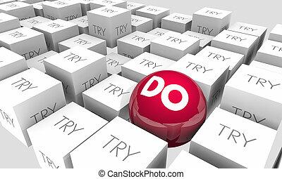 faire, vs, essayer, détermination, réaliser, reussite, sphère, cubes, 3d, illustration