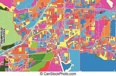 Fairfield, California, USA, colorful vector map
