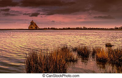 Fairfield - The flooded fields around St.Thomas a Becket...