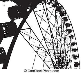A big fairground big wheel in half tone