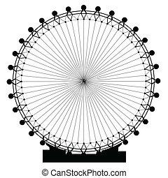 A giant fairground big wheel isolated on white.