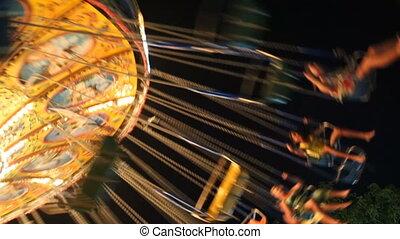 Fairground Carousel Spinning Round