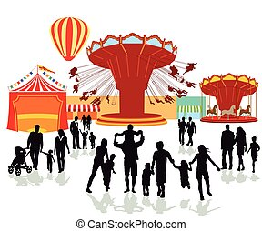 Fairground, folk festival illustration
