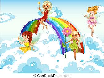 Fairies above the sky near the rainbow