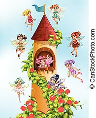 Fairies and tower - Fairies flying around the castle tower