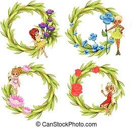 Fairies flying around the flower bouguet