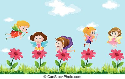Fairies flying in flower garden