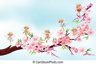 Fairies flying on blossom branch
