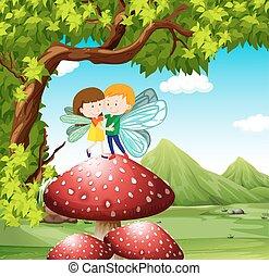 Fairies flying on the mushroom