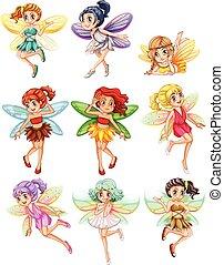 Fairies - Illustration of many fairies flying