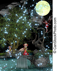 Fairies playing in the woods under the moonlight.