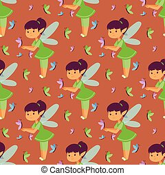 Fairies princess fairy girl vector character cute beautiful style cartoon little fairyland fashion costume magic fantasy dress fairytale crown kid seamless pattern background.