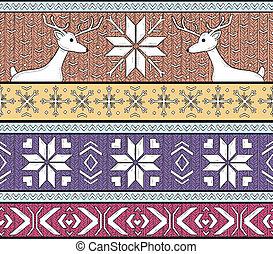 fairs isle seamless pattern - Hand drawn seamless knitted...