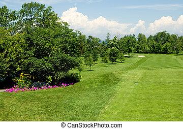 Fairway - A long golf course fairway on a beautiful summer...