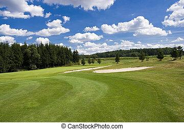 fairway, de, um, bonito, campo golfe